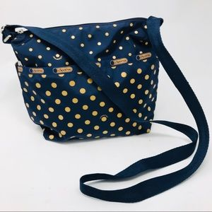 LeSportSac Navy Blue Gold Dot Speckle Crossbody